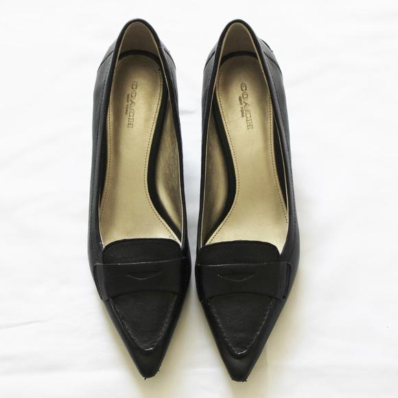 e800cd1fc21 Black Coach Penny Loafer Heels Size 7 B